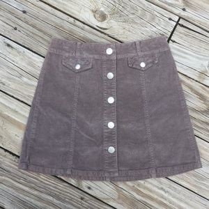 BDG Denim Corduroy Button-Detail Winter Mini Skirt